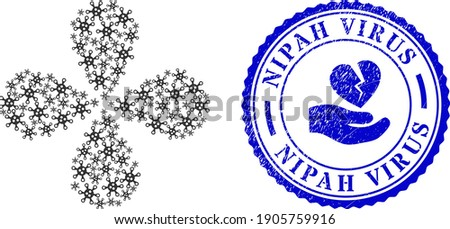 Virus explosion flower shape, and blue round NIPAH VIRUS unclean stamp with icon inside. Element flower with 4 petals organized from oriented virus items. Vector flower collage in flat style. Stock photo ©