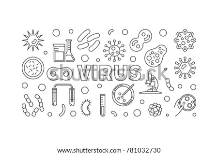 Virus horizontal linear illustration. Vector concept banner made with viruses and bacterias outline icons
