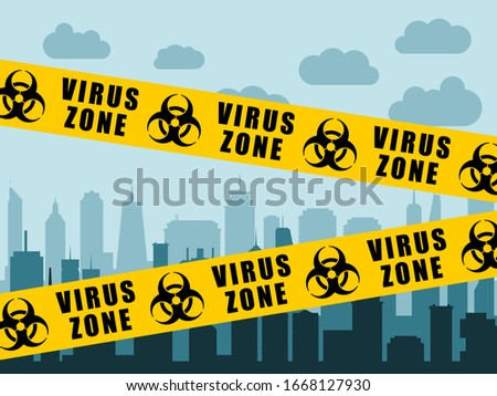 Virus lockdown barrier tape over city. Coronavirus pandemic.