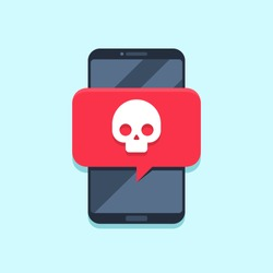 Virus notification on smartphone screen. Alert message, spam attack or phone malware notifications. Smartphones viruses or fraud message, insecure scam alerts email. Internet error vector concept