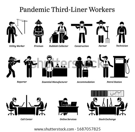 Virus pandemic third-liner workers. Vector icons of utility worker, fireman, farmer, reporter, factory staffs, hotel, call center, online services, and stock market employee wearing surgical mask.