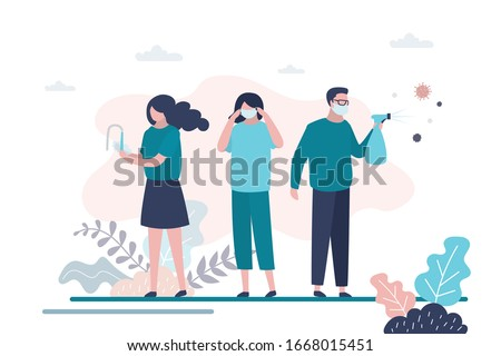 Virus prevention concept. Group of people wash their hands, wear protective masks and disinfect objects. Health care concept. Global epidemic or pandemic. Trendy vector illustration