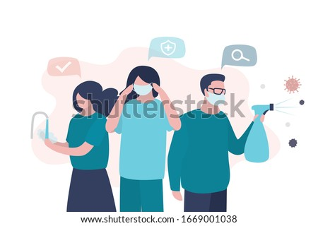 Virus prevention concept. Group of people wash their hands, wear protective masks and disinfect objects. Health care concept. Humans closeup. Global epidemic or pandemic. Trendy vector illustration stock photo