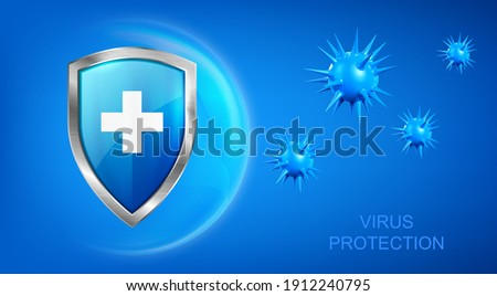 Virus protection banner with shield, cross and bacteria piked cells flying on blue background. Anti bacterial or germ defence, immune system protect medical poster, Realistic 3d vector illustration
