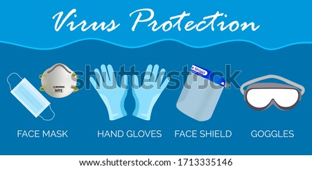 Virus Protection by Face Mask, Hand Gloves, Face Shield, Goggles. Face Mask, Hand Gloves, Face Shield, Goggles Vector