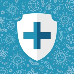 Virus protection. White shield for text on a blue background surrounded by viruses and bacteria. Vector illustration isolated for design and web.