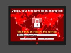 Virus ransomware malware threat extortionist computer screen red window