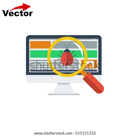 virus scan computer icon, vector pc bugs icon, isolated Computer virus icon