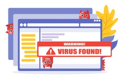 Virus warning or alert vector illustration and design. Operating system and program or application concept element.  Can be used for web and mobile development. Suitable for infographic
