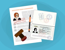 Visa application flat illustration concept. Top view. Modern flat design concepts