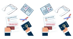 Visa application rejected and approved stamp. Passport in hand vector cartoon top view illustration isolated on a white background.