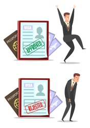 Visa applications with approved and rejected stamps, happy and sad businessmen cartoon characters, vector flat style design illustration.