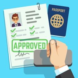 Visa concept. Passport or visa application. Travel immigration stamp vector illustration
