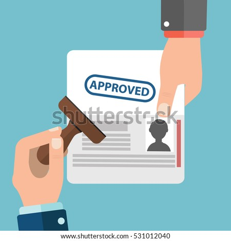 Visa Stamp Passport Flat Icon Businessman Hand Hold Travel Approved Document Vector Illustration.