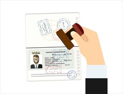 Visa Stamp Passport. Hand puts a stamp in the passport with a mark approved. travel document. vector illustration in flat design.