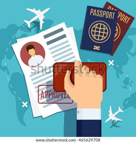 Visa stamping. Passport or visa application. Travel immigration stamp, vector illustration