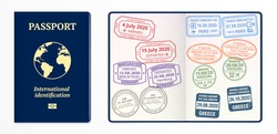 Visa stamps in the passport. Arrival and departure signs in different countries: USA, UK, Germany, Italy, Spain, Greece. Passport pages with guilloche grid. Different types of immigration visa stamps.