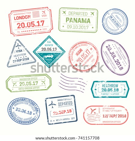 visa stamps that put at airport ...