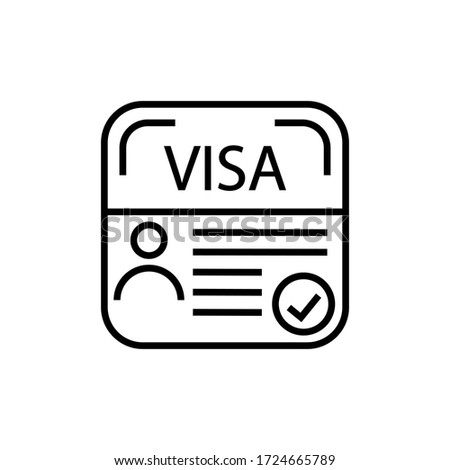 Visa vector icon. Temporary residence permit illustration sign.