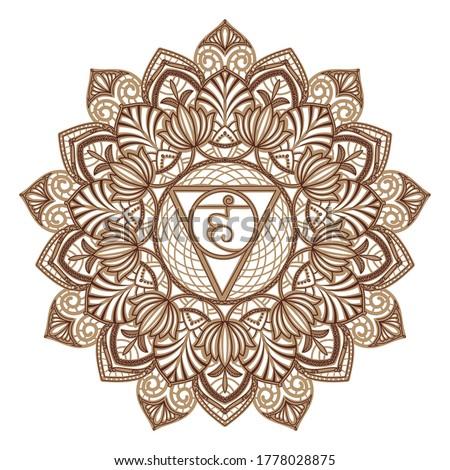 Vishuddha - the fifth guttural chakra. Sacral sign. Meditation Vishuddha. Throat chakra. Symbol of the fifth human chakra. Vector illustration.Yoga, meditation, reiki. suitable for laser cutting  Stock photo ©