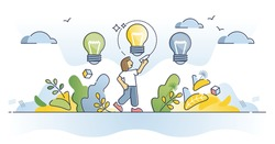 Vision and ideas as creative project selection for business outline concept. Innovation organization or strategy management with various bulbs and best choice from different lights vector illustration