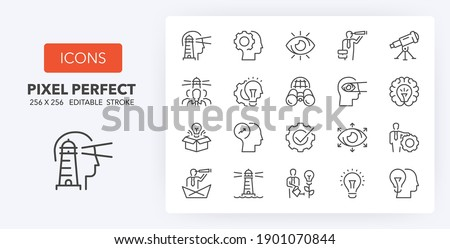Vision and innovation, business concepts. Thin line icon set. Outline symbol collection. Editable vector stroke. 256x256 Pixel Perfect scalable to 128px, 64px...
