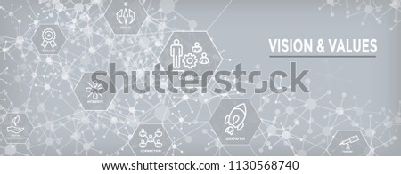 Vision and Values Web Header Banner with Connection, Growth, Focus, and Quality