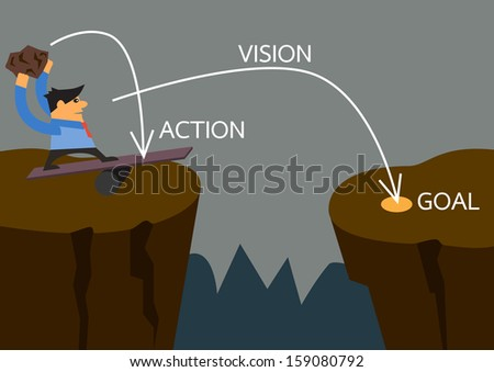 Vision businessman on spring from a cliff to another cliff with stone momentum with planing of action vision and goal a vector concept