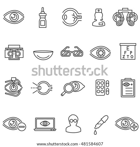vision care icons set. ophthalmology collection. Thin line design