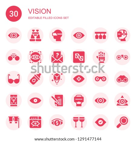 vision icon set. Collection of 30 filled vision icons included Eye, Binoculars, Vr glasses, Glasses, Visual, Letter, Preview, Exoskeleton, Eye drops, Hologram, Vision, Typography