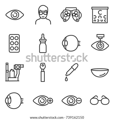 Vision icon set. Verification and correction of visual, thin line design. Collection of icons on the theme of ophthalmology. Line with editable stroke