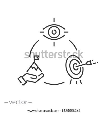vision mission icon, concept goal company, value statement, purpose, thin line web symbols on white background - editable stroke vector illustration eps 10