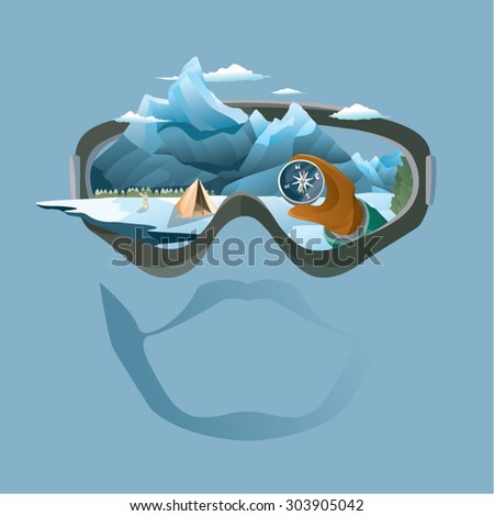 Vision of mountain climber, showing camp, mountain, snow, compass.