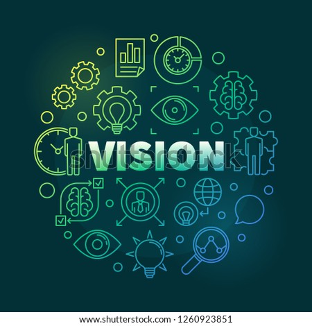 Vision round colorful linear illustration. Vector business concept outline design on dark background