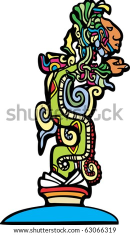 Vision serpent derived from traditional mayan temple imagery.