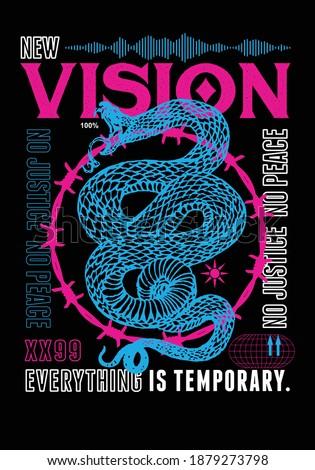 Vision t-shirt print design with snake illustration