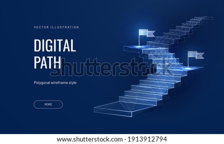 Vision target on a blue background. Business mission concept or goal achievement in a futuristic polygonal style. Digital path abstract vector illustration