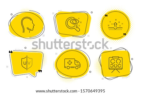 Vision test, Ambulance emergency and Vision board signs. Chat bubbles. Clean skin, Uv protection and Head line icons set. Cosmetics, Ultraviolet, Human profile. Eyesight check. Medical set. Vector