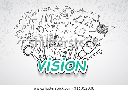 Vision text, With creative drawing charts and graphs business success strategy plan idea, Inspiration concept modern design template workflow layout, diagram, step up options, Vector illustration