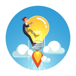Visionary genius business man riding jet rocket lightbulb up into sky above clouds concept. Project based on great creative idea & exponential growth metaphor. Flat vector isolated illustration.