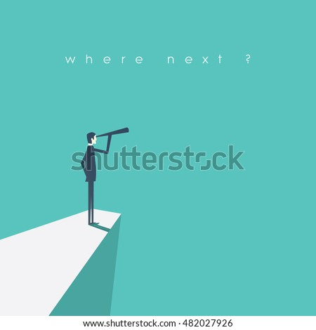 Shutterstock Visionary leadership concept vector illustration with business man looking through telescope from a cliff. Eps10 vector illustration.