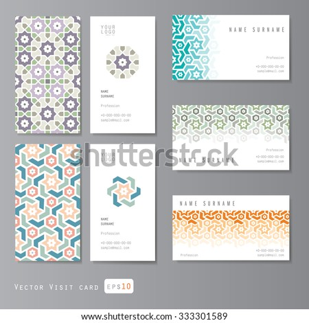 visit cards set with islamic