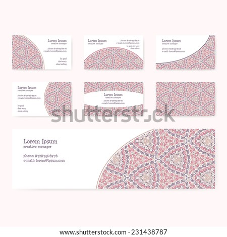 Visit cards with a light pink ornament, set of 6 items + banner. Visit cards in pastel colors with oriental pattern.
