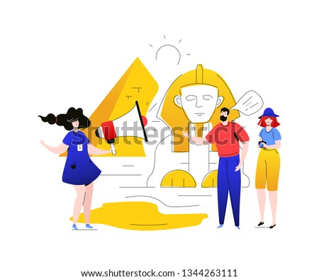 Visit Egypt - colorful flat design style illustration on white background. A composition with a guide with megaphone and tourists, man, woman at Giza pyramid, sphinx. Traveling and guided tour concept