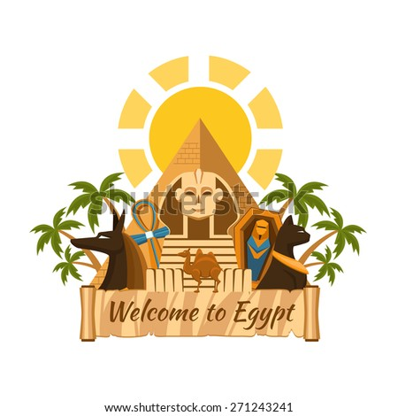 Visit Egypt Tourist Egyptian Attractions Sphinx and pyramids palm trees and mummy