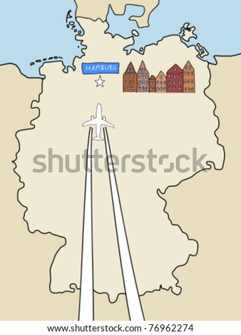 Visit Hamburg - outline map of Germany and a plane with contrails. City symbol, travel concept.