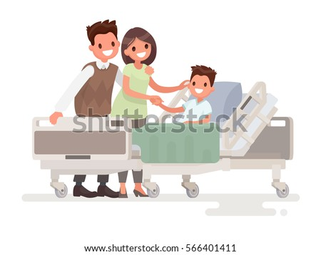 Visit of visitors to the patient to the hospital. Parents with sick boy lying in a medical bed. Vector illustration in a flat style