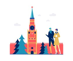 Visit Russia - colorful flat design style illustration on white background. A composition with couple, tourists in warm clothes watching Moscow Kremlin. Traveling and vacation concept