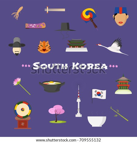 Visit South Korea vector icons set, cliparts. Korean landmarks,people clothes design elements