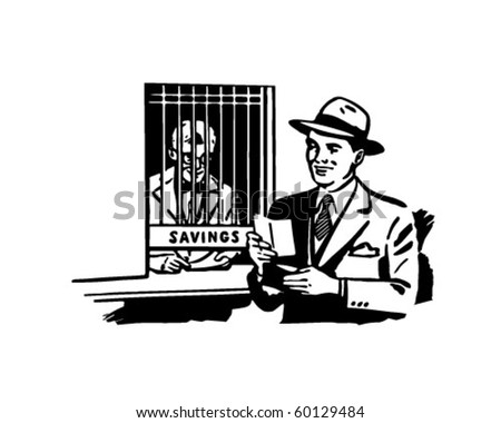 Visit To The Teller - Retro Clip Art